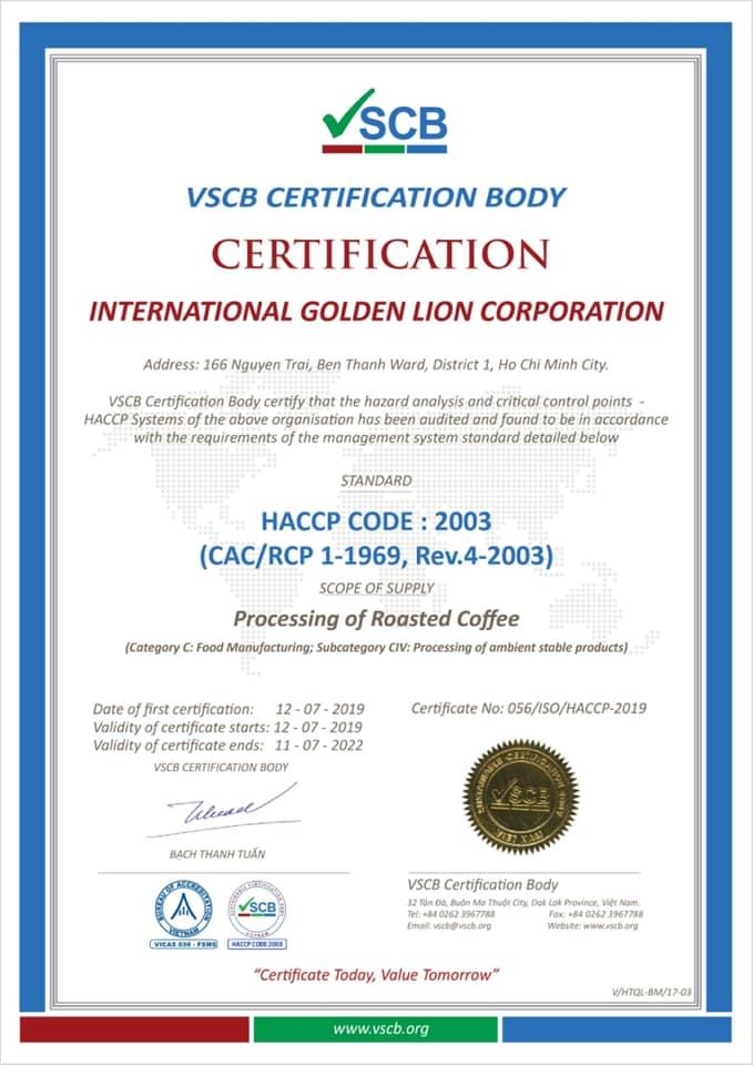 Giấy CN HACCP